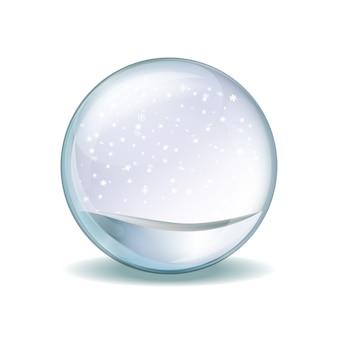 Снежный шар с падающими снежинками. реалистичная прозрачная стеклянная сфера
