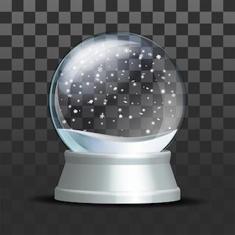 떨어지는 눈송이와 스노우 글로브입니다. 흰색 받침대에 현실적인 투명 유리 구입니다. 어두운 배경에 마법의 유리 구입니다. 벡터 일러스트 레이 션 eps 10