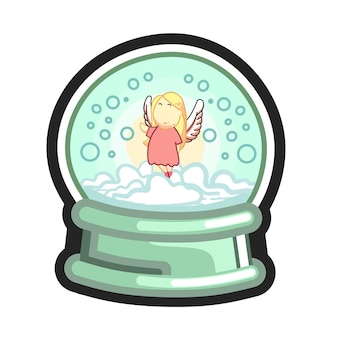 Snow globe with flying fairy angel and snowfall