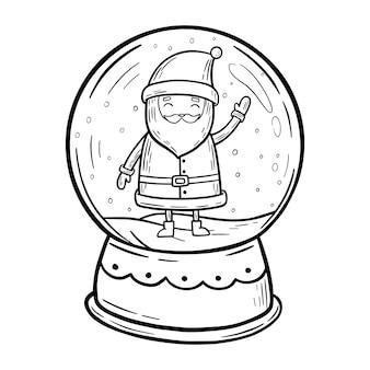 サンタクロースのスノードームとスノードームスノードームメリークリスマスと新年あけましておめでとうございますカード