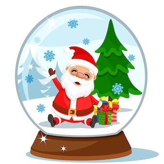 白い背景の上のサンタクロース、ギフト、クリスマスツリーとスノードーム。メリークリスマス、そして、あけましておめでとう