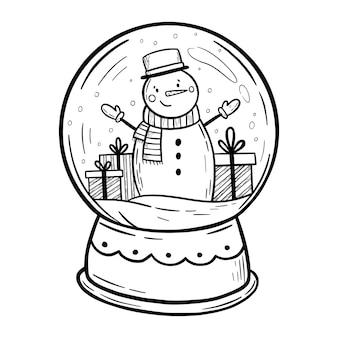 雪だるまとスノードームクリスマススノードームメリークリスマスと新年あけましておめでとうございますカード