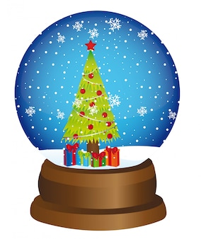 Snow globe with tree and gifts over white background vector