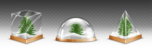 Snow globes with christmas tree on wooden base isolated on transparent background