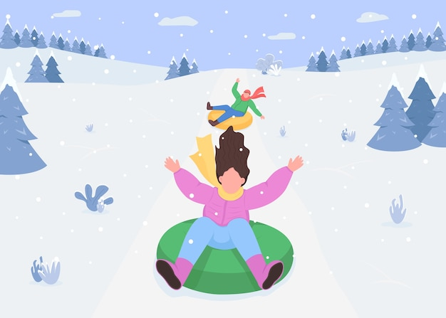 Snow hill sledging flat color . riding snow tubes. inflatable rings. outdoor winter activities. snow sports. excited 2d cartoon characters with snowy forest mountains on background