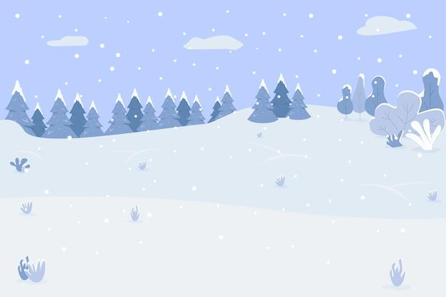 雪の丘セミフラット。冬の風景。レクリエーションのために木々や空き地がある場所。伝統的な休日の降雪。商業用の寒い季節の2d漫画の風景