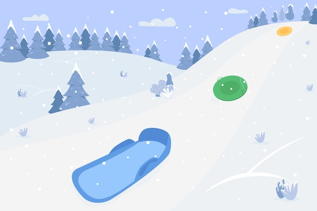 Снежные холмы с полуплоской иллюстрацией саней. зимний пейзаж для детей