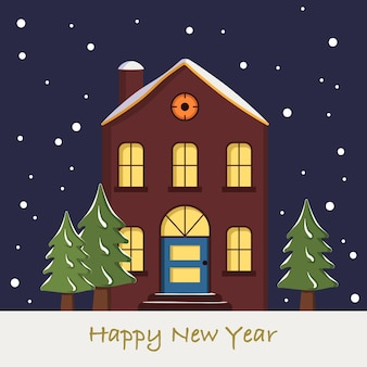 Snow house on christmas card. winter landscape with snowflakes and fir trees on blue background of the night sky. happy new year greeting card