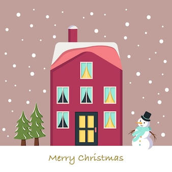 Snow house on christmas card. winter landscape with snowflakes, snowman and fir trees on pink background. festive greeting postcard for new year