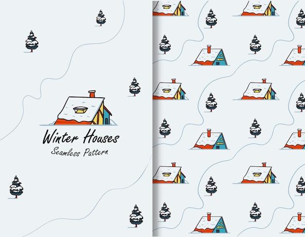 冬の雪の家イラストグリーティングカードのシームレスパターン