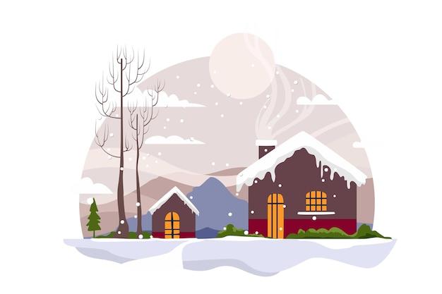 Снежный дом с рождеством христовым плоских векторов