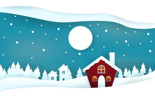 Снежный дом соснами зима papercut вырезать бумагу стиль иллюстрации