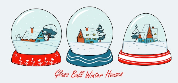 Snow house in winter globe glass ball illustration set