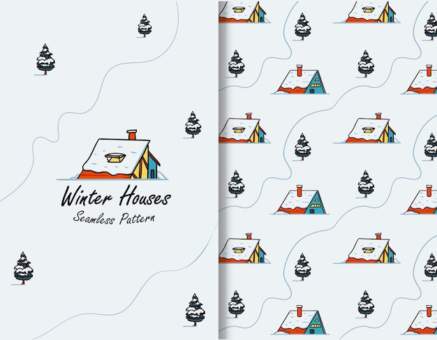 Snow house in winter illustration seamless pattern for greeting card
