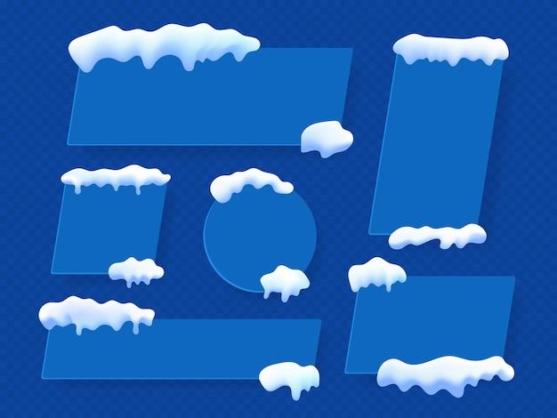 青いバナーを宣伝するスノーアイスキャップは、長方形の正方形の丸い形を設定します。テキストバナーセット用の空きスペース。ベクトルイラスト