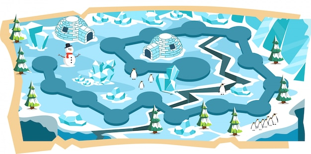 Snow landscape 2d game maps with path and blue ice land