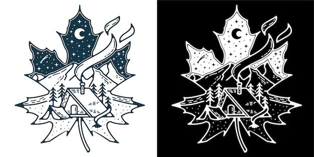 배지 로고 문신 또는 빈티지 복고를 위한 스노우 리프 화이트 아름다운 보기 로고 모노라인