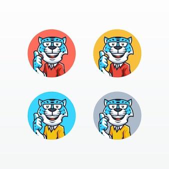 Snow leopard mascot set vector template