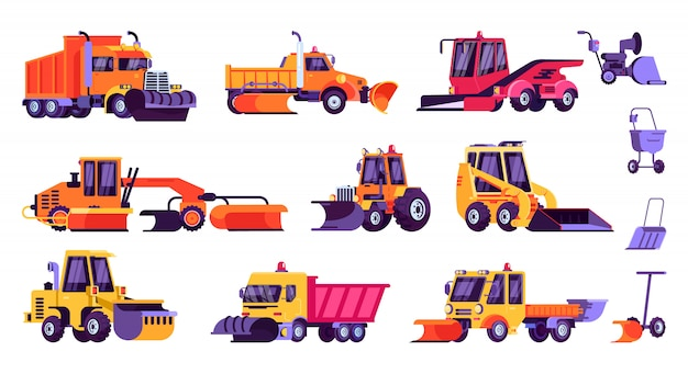 Snow machines, snow removal cleaning cars and equipment set.