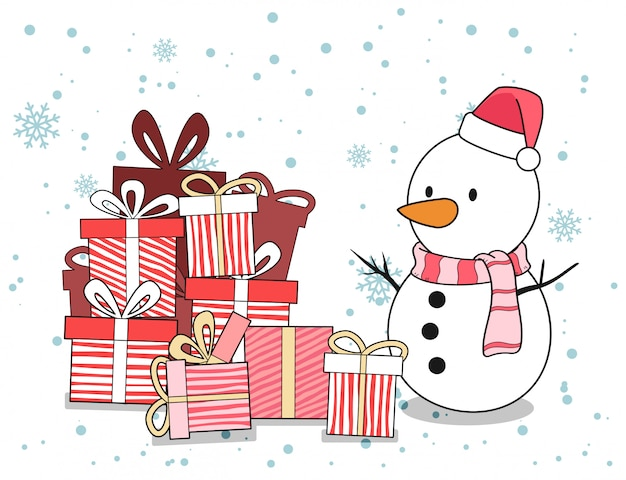 Snow man character and gifts in christmas day