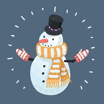 Snow man on dark background