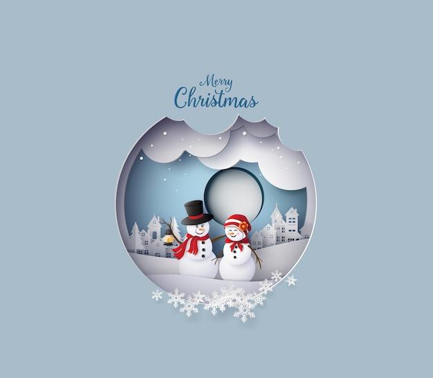 Snow man in the village