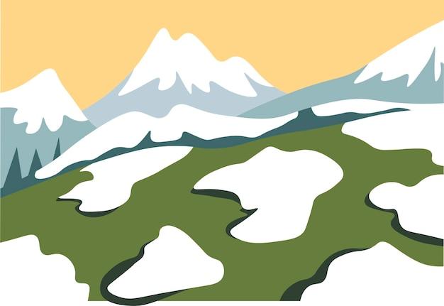 山の範囲ベクトルの上に融雪