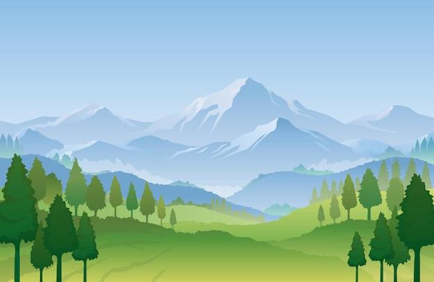 Снежная гора и лес на фоне весеннего пейзажа