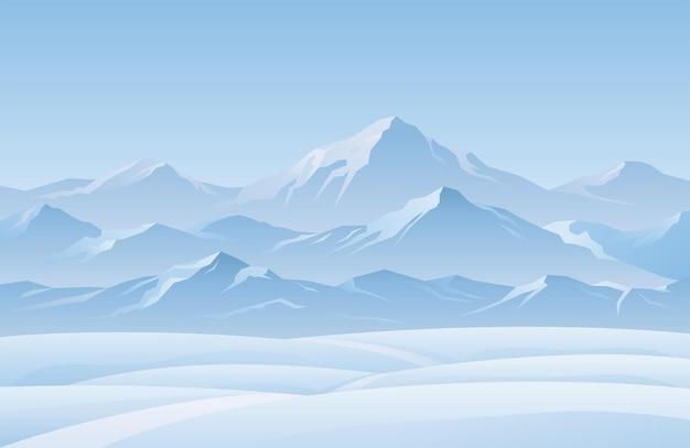 Снежная гора зимний пейзаж фон