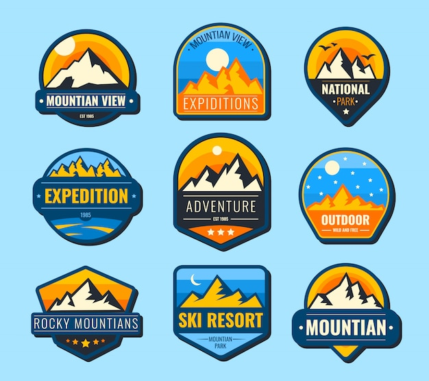 Snow mountains flat labels set
