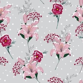 Snow on blooming lily flowers seamless pattern vector