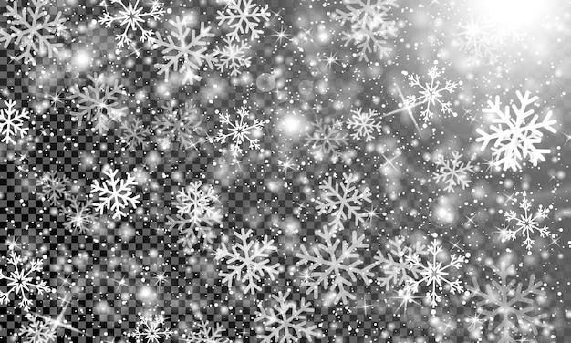 透明な背景に雪。クリスマスの質感。雪が降る。