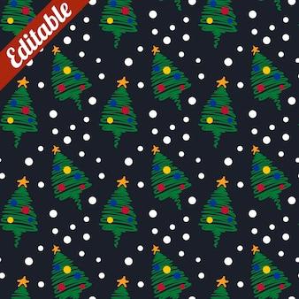 Snow pine tree christmas  ornament pattern