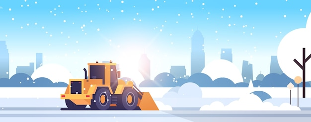 Snow plow tractor cleaning city snowy road winter street snow removal concept modern cityscape sunshine flat horizontal vector illustration