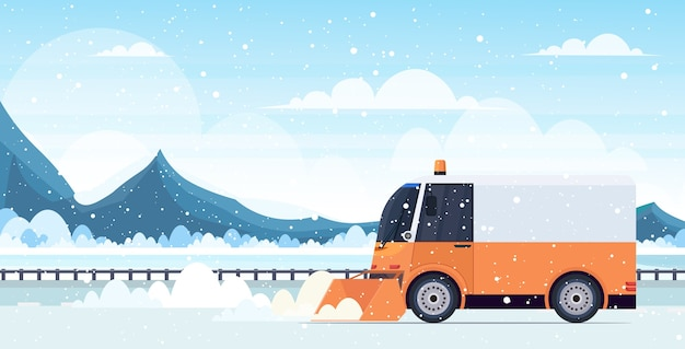 Snow plow truck cleaning highway road afrer snowfall winter snow removal