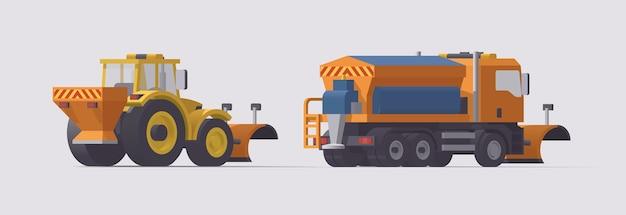Снегоуборочная машина и трактор. вид сзади. уборка снега. разбрасыватель соли. иллюстрация