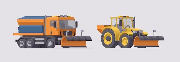 Снегоуборочная машина и трактор. уборка снега. разбрасыватель соли. иллюстрация