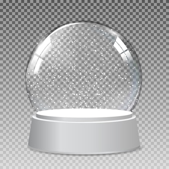Snow realistic transparent glass globe for christmas