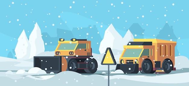 Уборка снега. тяжелые грузовики, очищающие городскую дорогу от мультяшного фона векторной метели. иллюстрация снежный тяжелый грузовик, вспашка машинного оборудования