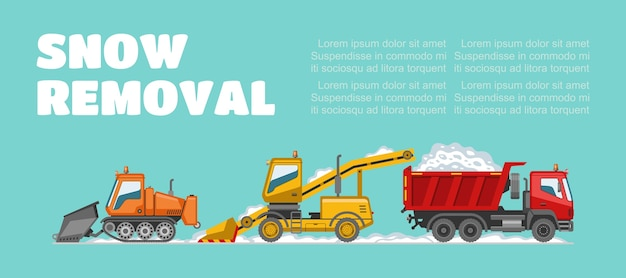 Snow removal,  inscription, background information, winter weather, snow removal vehicles,    illustration. big truck, cold climate, cleaning city from effects snowfall.