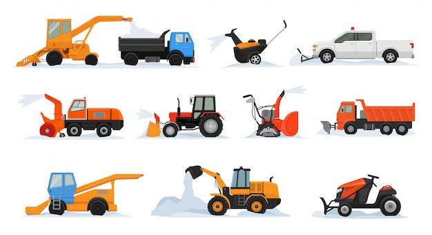 Уборка снега вектор зимнее транспортное средство экскаватор бульдозер уборка уборка снег снежный комплект снегоочиститель оборудование тягач грузовик снегоуборочная транспорт