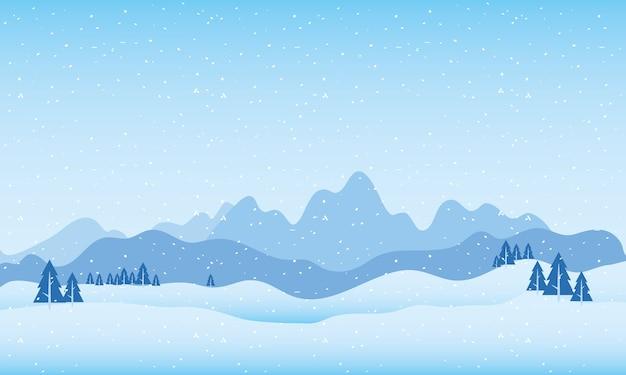 山と松の木の雪景色シーン