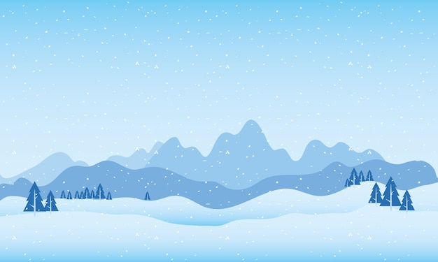 Snow scape scene with mountains and pines trees