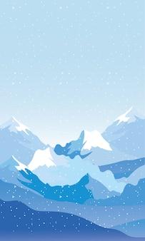 Snow scape seasonal scene with mountains