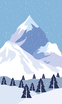 Snow scape seasonal scene with pines and mountain