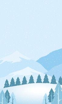 Snow scape seasonal scene with pines and mountains horizon