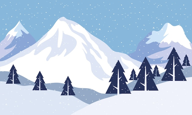 Snow scape seasonal scene with pines and mountains peaks