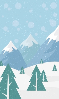 Snow scape seasonal scene with pines and mountains in storm