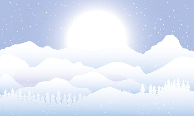 Snow scape seasonal scene with pines and sun light