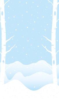 Snow scape seasonal scene with trees fozen